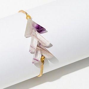 Fluorite brass faceted bead bracelet.